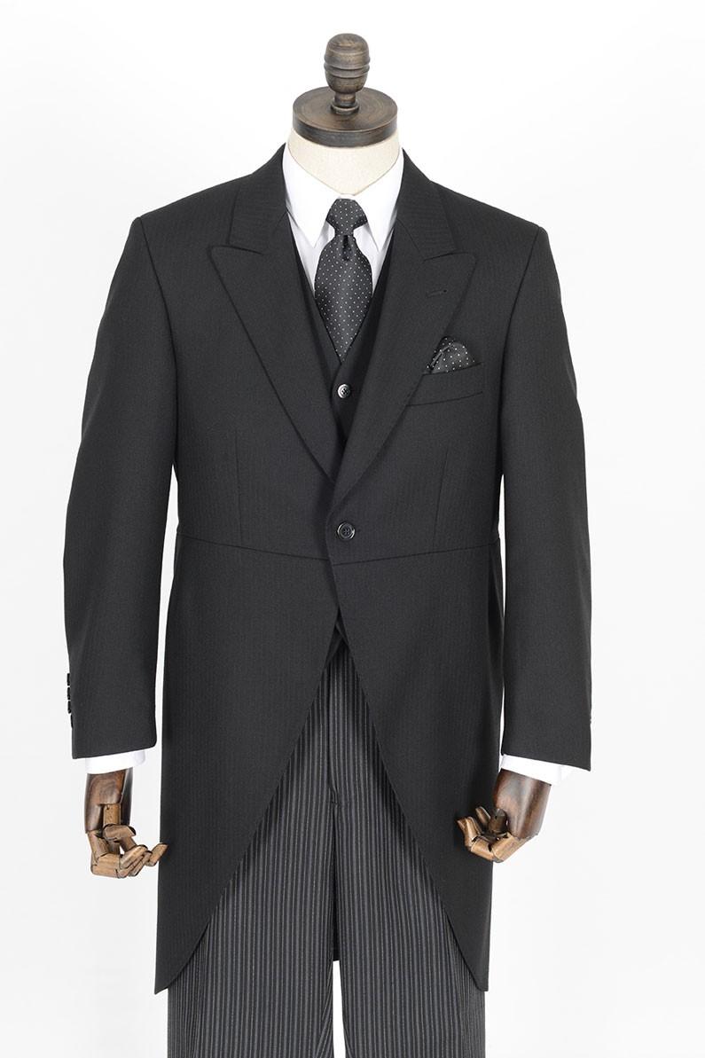 Black Herringbone Morning Tailcoat