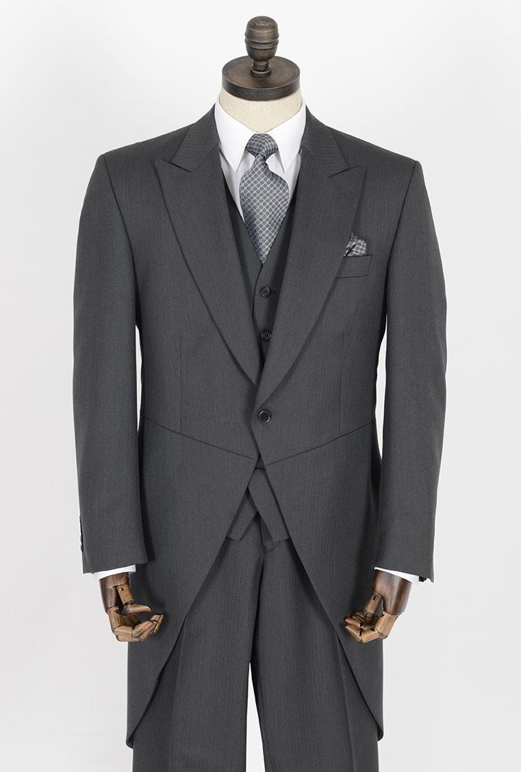 Grey Herringbone Morning Tailcoat