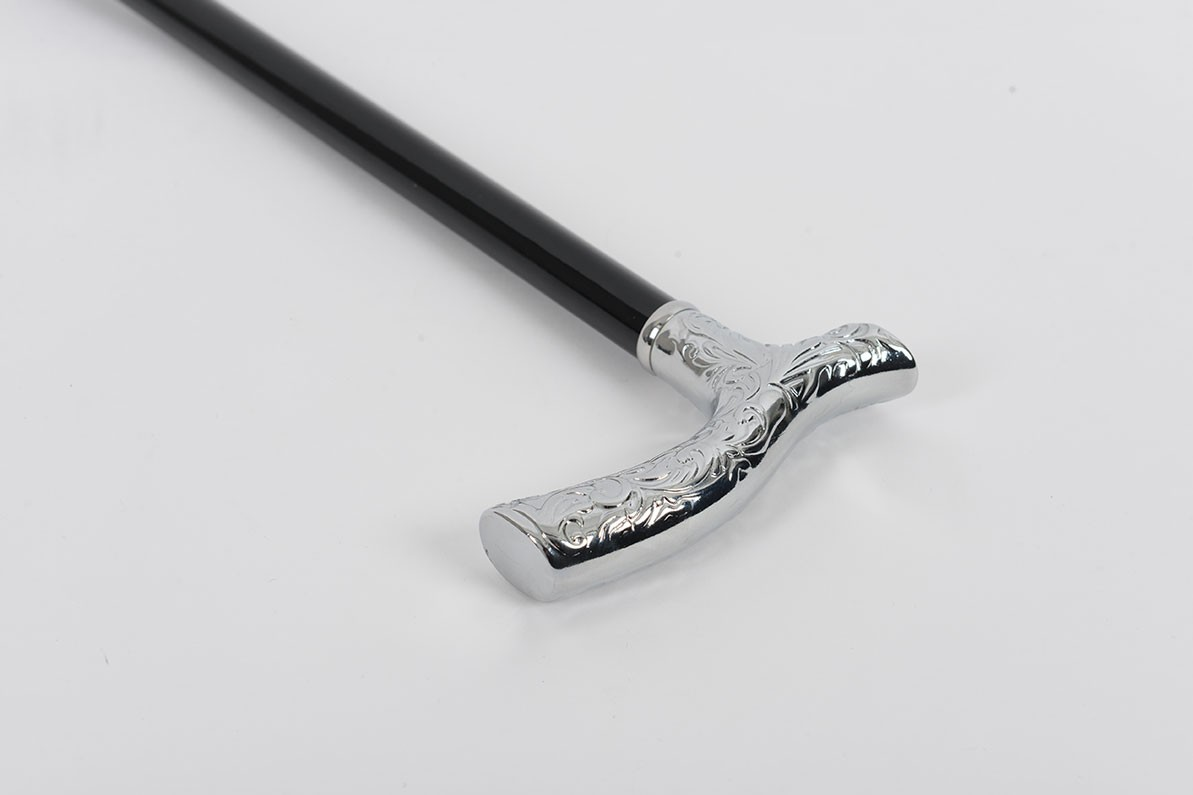Chrome Crutch Handle Embossed Cane