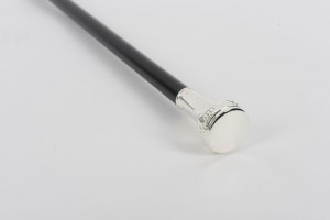 Patterned Flat Top Silver Plated Cane