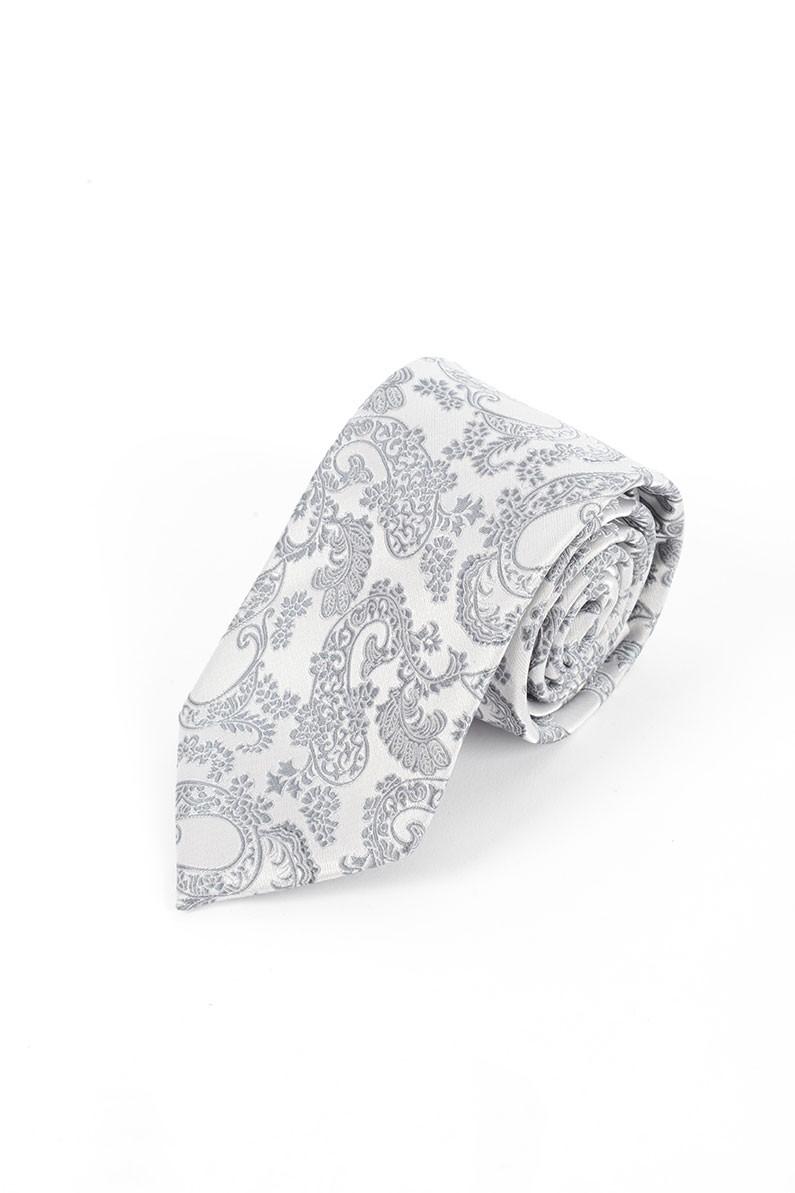 Grey Paisley Self Tie