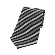 Grey and White Striped Self Tie